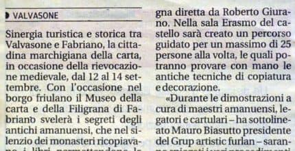 Messaggero Veneto – Sinergia con il grup artistic furlan di Valvasone