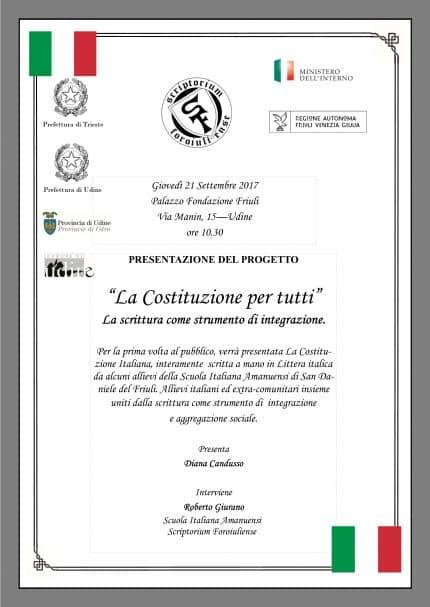 """Scriptorium Foroiuliense presenta """"La Costituzione per tutti"""""""