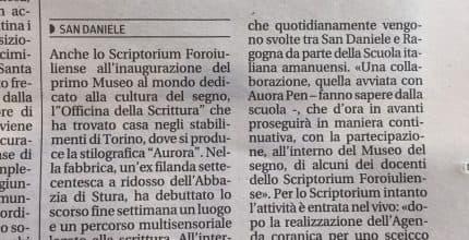 Messaggero Veneto – Lo Scriptorium ospite a Torino del Museo dedicato al segno